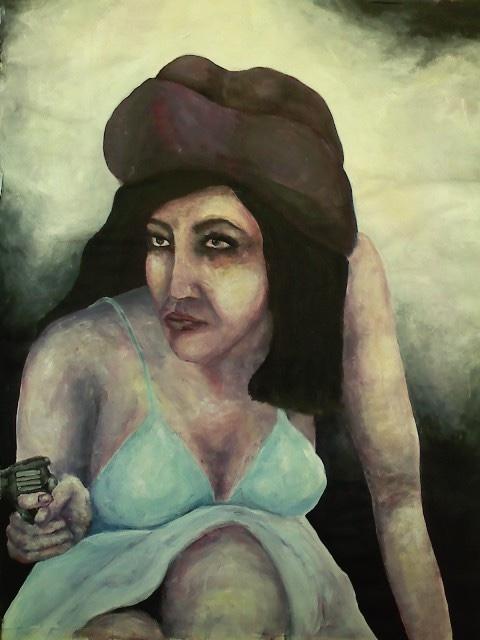 2008-Malerei-Farbe-1-Nutte-Pistole-cowboyhut-Luisa-Pohlmann-Kunst-Berlin