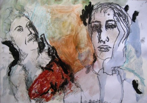 2008-Malerei-Farbe-10-Nachdenklich-Bikini-rot-Luisa-Pohlmann-Kunst-Berlin