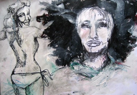 2008-Malerei-Farbe-11-Bikini-Pinup-girl-Po-nackt-Luisa-Pohlmann-Kunst-Berlin