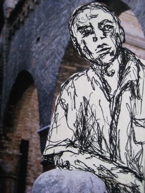2008-Zeichnung-Farbe-10-Torbogen-Mann-Luisa-Pohlmann-Kunst-Berlin