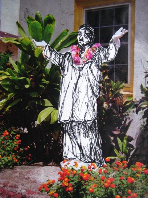 2008-Zeichnung-Farbe-13-Statue-Garten-Luisa-Pohlmann-Kunst-Berlin
