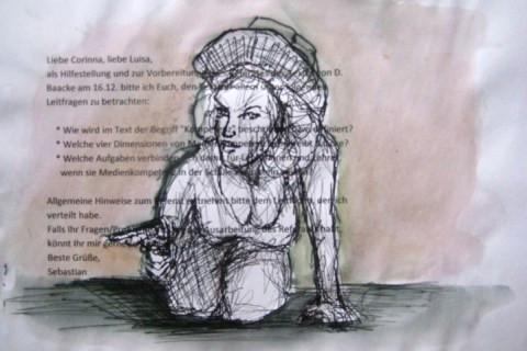 2008-Zeichnung-Farbe-5-Nutte-Pistole-Cowgirl-Luisa-Pohlmann-Kunst-Berlin