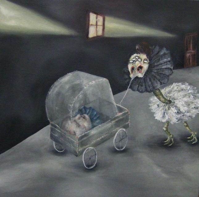 2009-Malerei-Angst-3-Kinderwagen-Kopf-Luisa-Pohlmann-Kunst-Berlin