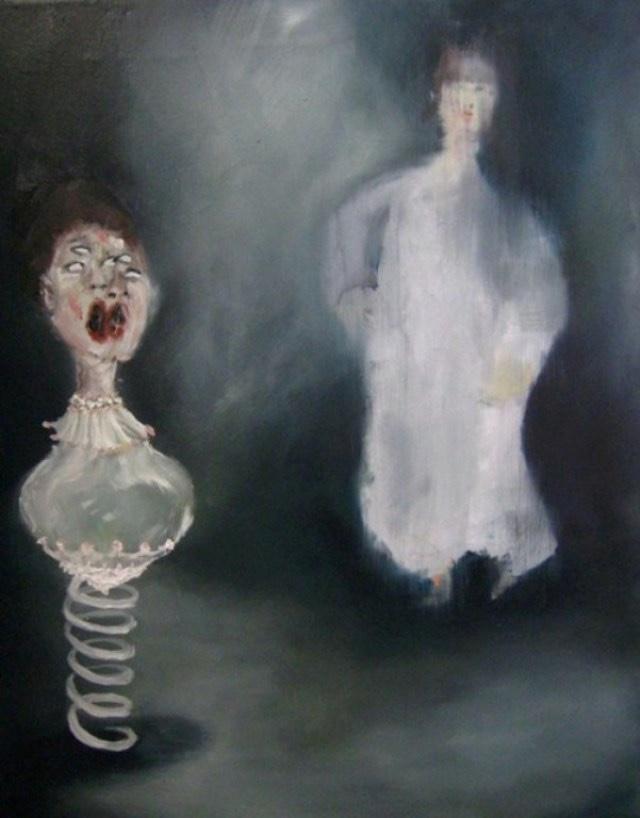 2009-Malerei-Angst-5-Sprungfeder-Geist-Schreien-Luisa-Pohlmann-Kunst-Berlin