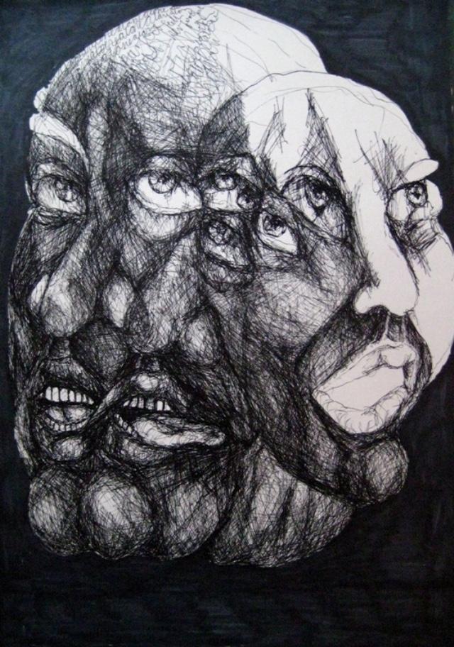 2009-Zeichnung-Angst-12-drei-Gesichter-Luisa-Pohlmann-Kunst-Berlin