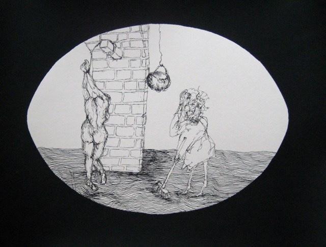 2009-Zeichnung-Angst-25-Sklave-Besen-Folter-Luisa-Pohlmann-Kunst-Berlin