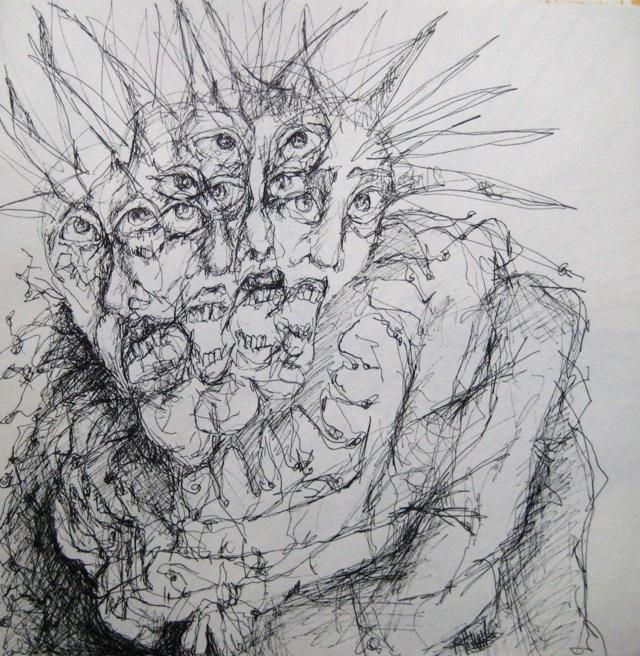 2009-Zeichnung-Angst-33-Stacheln-Gesichter-Luisa-Pohlmann-Kunst-Berlin