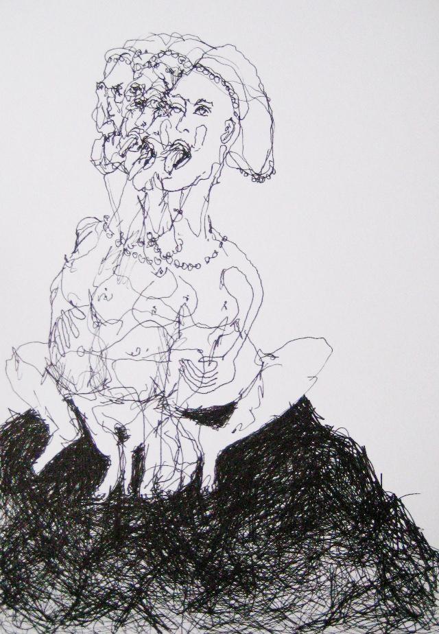 2009-Zeichnung-Angst-36-zunge-Frau-busen-schwanger-Luisa-Pohlmann-Kunst-Berlin