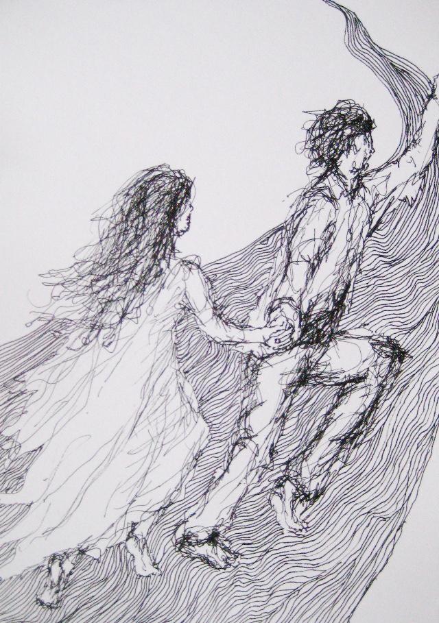 2009-Zeichnung-Angst-37-Paar-Flucht-Traum-Luisa-Pohlmann-Kunst-Berlin