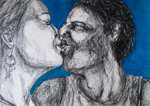 2009-Zeichnungen-Tanzen-12-Kuss-Luisa-Pohlmann-Kunst-Berlin