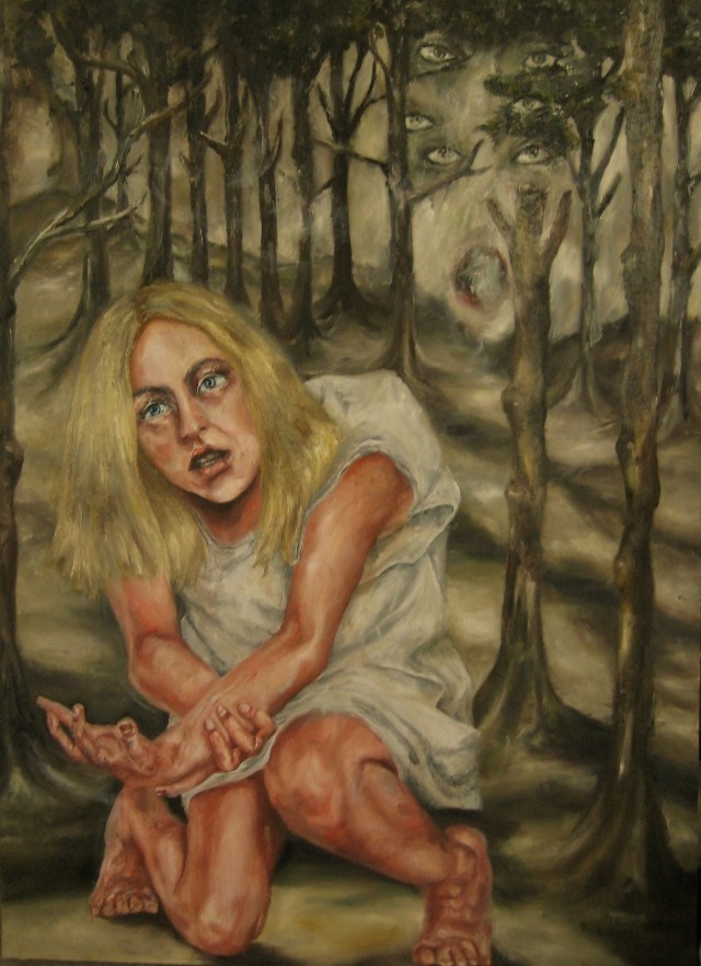 2010-Malerei-Schmerz-1-Frau-kniend-Hand-Wald-Luisa-Pohlmann-Kunst-Berlin
