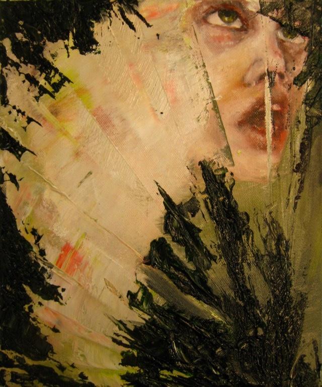 2010-Malerei-Schmerz-2-Raupe-Gesicht-Luisa-Pohlmann-Kunst-Berlin