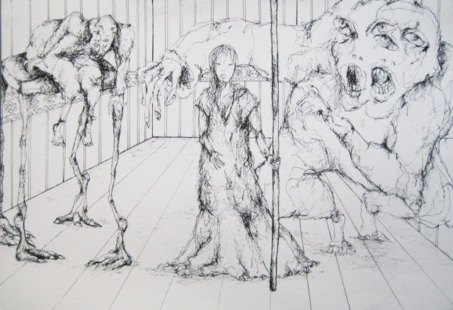 2010-Zeichnung-Schmerz-27-stehen-bedrohung-Luisa-Pohlmann-Kunst-Berlin