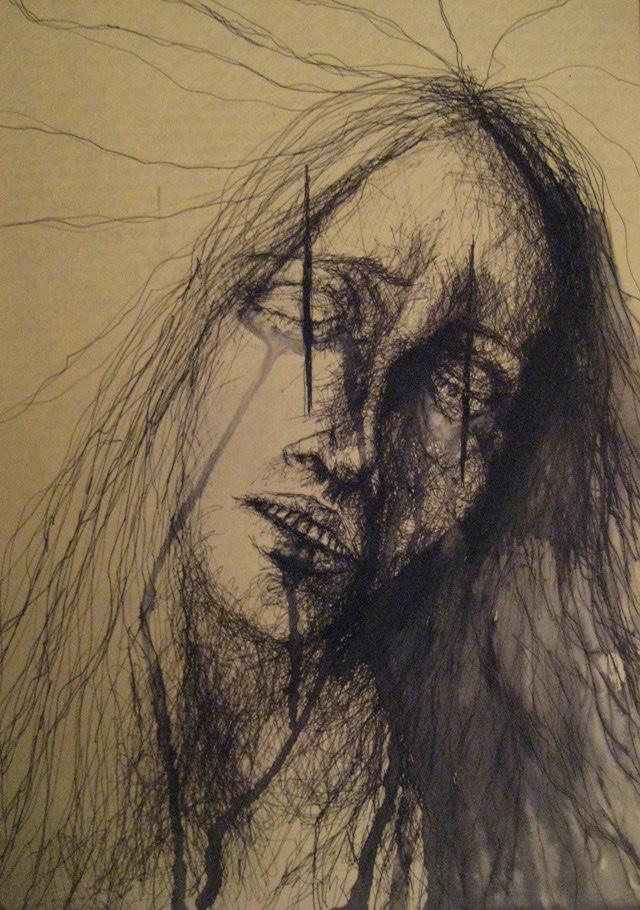 2010-Zeichnung-Schmerz-6-weinen-zerrissenheit-Luisa-Pohlmann-Kunst-Berlin