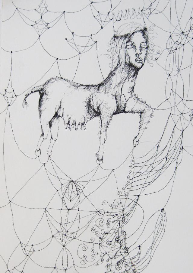 2011-Zeichnung-Emotion-22-kuh-fäden-netz-Luisa-Pohlmann-Kunst-Berlin