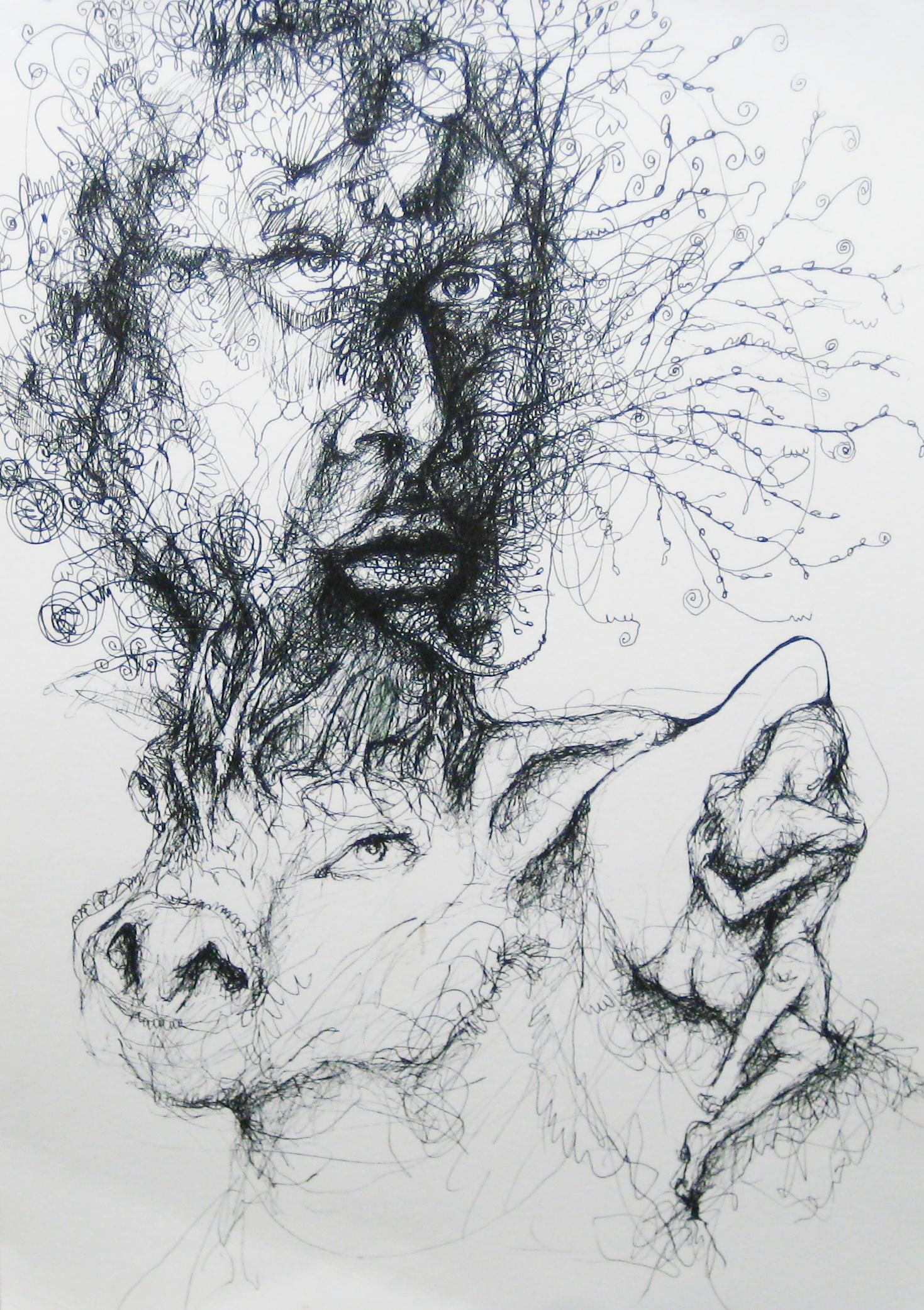 2011-Zeichnung-Emotion-25-reiten-kuh-wurzeln-Luisa-Pohlmann-Kunst-Berlin