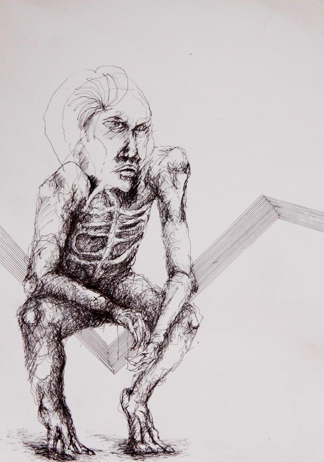 2011-Zeichnung-Emotion-3-hocke-skelett-Luisa-Pohlmann-Kunst-Berlin