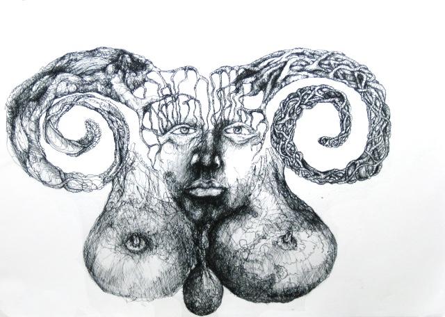 2012-Zeichnung-Sex-1-bueste-hoerner-Luisa-Pohlmann-Kunst-Berlin