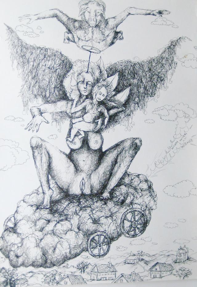 2012-Zeichnung-Sex-13-schwein-fliegen-wolke-maria-engel-baby-Luisa-Pohlmann-Kunst-Berlin