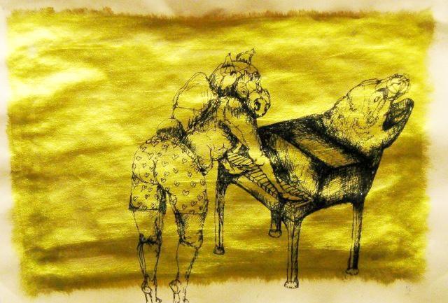 2012-Zeichnung-Sex-14-gold-kuh-klavier-Luisa-Pohlmann-Kunst-Berlin