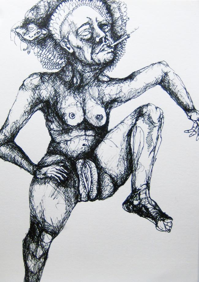 2012-Zeichnung-Sex-15-baubo-nackt-vulva-rauchen-schlange-Luisa-Pohlmann-Kunst-Berlin