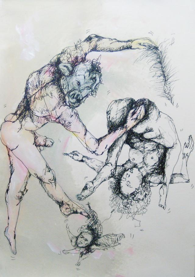 2012-Zeichnung-Sex-18-fliegen-feder-nackt-Luisa-Pohlmann-Kunst-Berlin