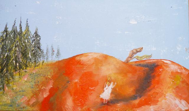 2013-Malerei-Freiheit-23-Apfel-berg-mädchen-wald-Luisa-Pohlmann-Kunst-Berlin