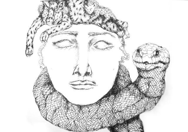 2013-Zeichnung-Freiheit-15-schlange-hals-tieger-baby-Luisa-Pohlmann-Kunst-Berlin