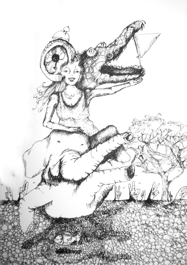2013-Zeichnung-Freiheit-17-fliegen-elefant-krokodil-zeit-Luisa-Pohlmann-Kunst-Berlin