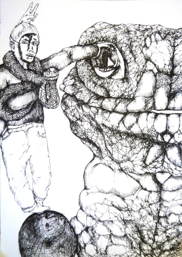 2013-Zeichnung-Freiheit-18-spiegel-augenblick-schlange-maske-Luisa-Pohlmann-Kunst-Berlin