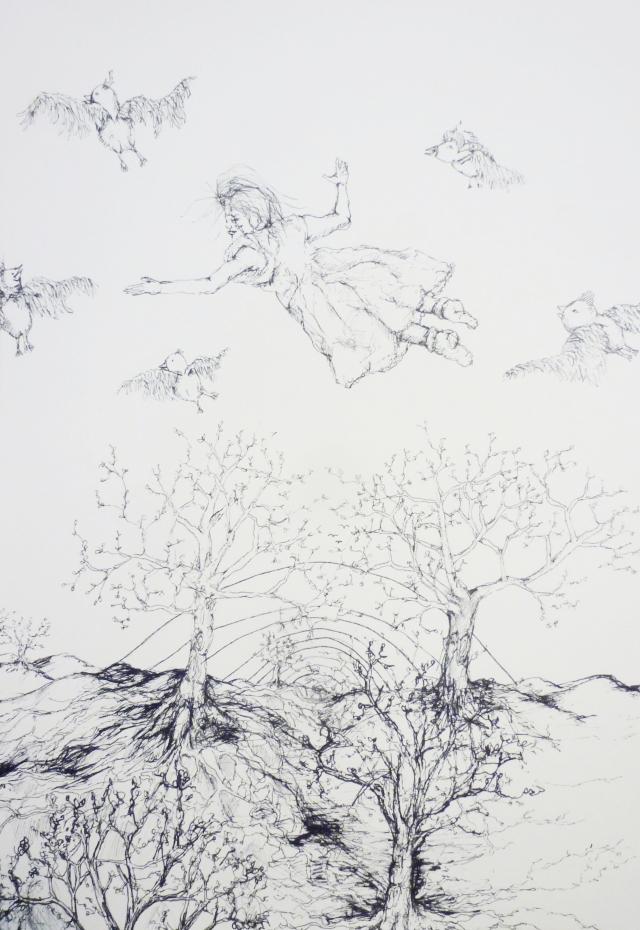 2013-Zeichnung-Freiheit-21-vögel-fliegen-bäume-Luisa-Pohlmann-Kunst-Berlin