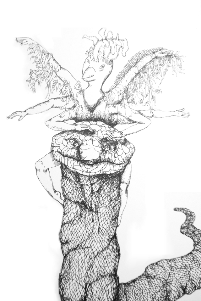 2013-Zeichnung-Freiheit-26-schlange-vogel-arme-flügel-Luisa-Pohlmann-Kunst-Berlin