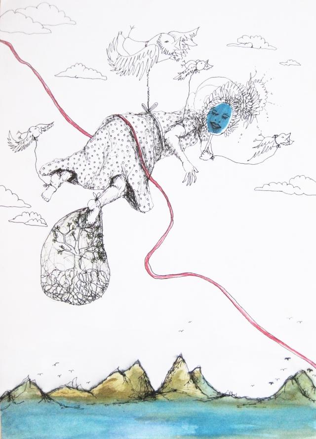 2013-Zeichnung-Freiheit-3-fliegen-baum-maske-Luisa-Pohlmann-Kunst-Berlin