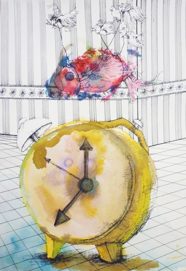 2013-Zeichnung-Freiheit-4-Uhr-fisch-zeit-Luisa-Pohlmann-Kunst-Berlin