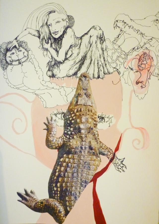 2013-Zeichnung-Freiheit-6-krokodil-schlange-frau-Luisa-Pohlmann-Kunst-Berlin