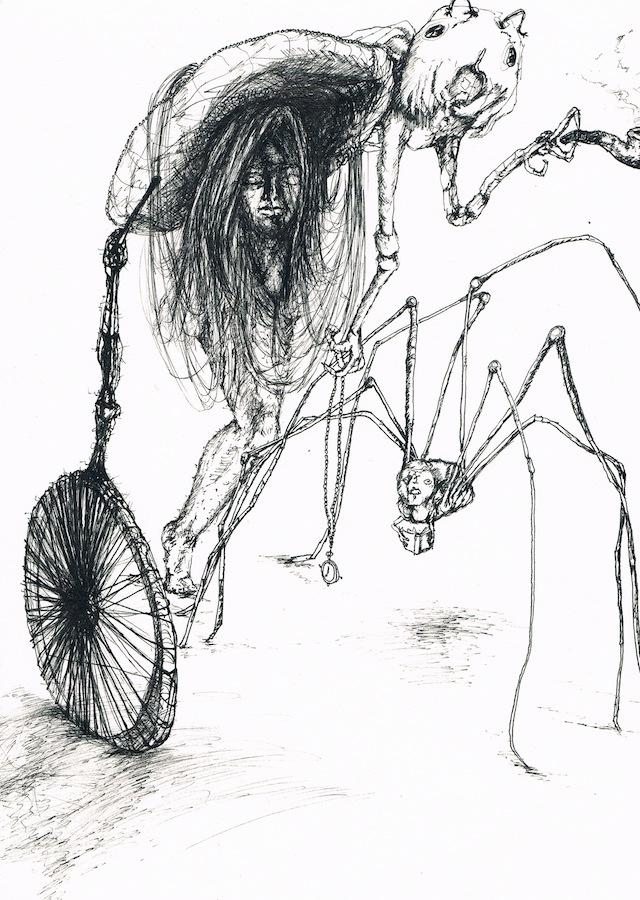 2014-Zeichnung-Kosmos-13-spinne-käfer-rad-pfeife-Luisa-Pohlmann-Kunst-Berlin
