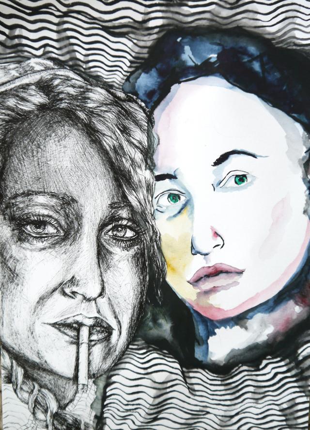 2014-Zeichnung-Kosmos-15-freunde-rauchen-gangster-Luisa-Pohlmann-Kunst-Berlin