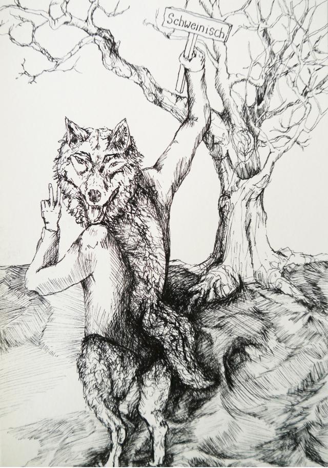 2014-Zeichnung-Kosmos-16-wolf-scheinisch-peace-Luisa-Pohlmann-Kunst-Berlin