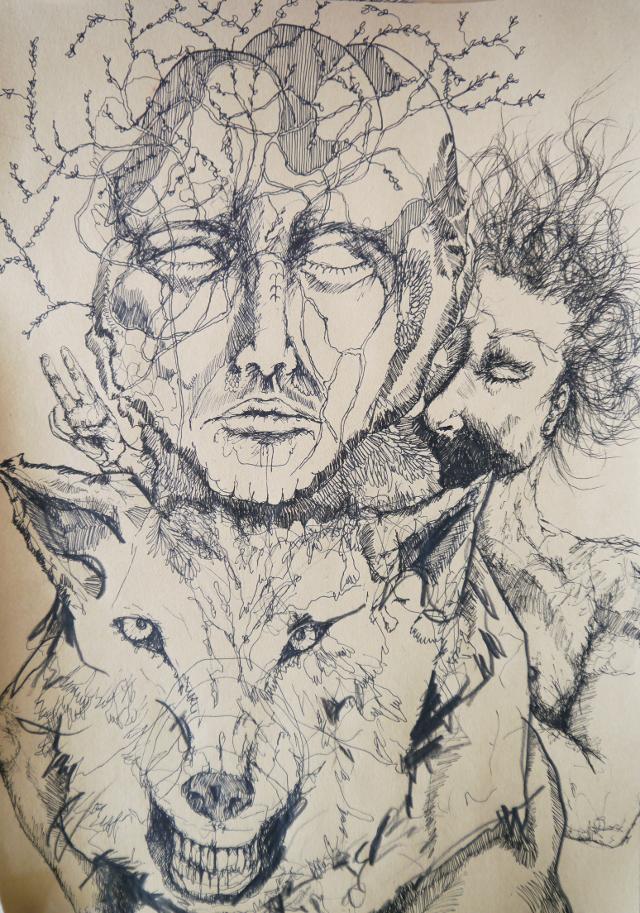 2014-Zeichnung-Kosmos-17-wolf-traum-schlafen-Luisa-Pohlmann-Kunst-Berlin