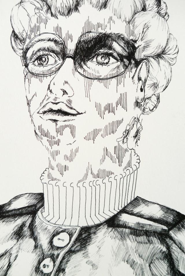 2014-Zeichnung-Kosmos-19-portrait-frau-brille-Luisa-Pohlmann-Kunst-Berlin