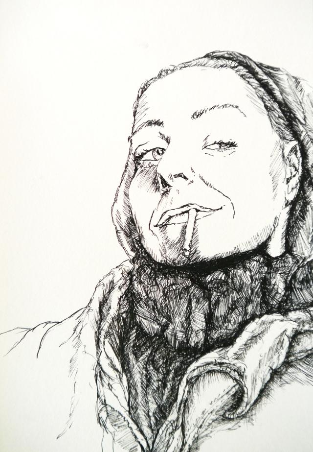 2014-Zeichnung-Kosmos-2-rauchen-verschmitzt-Luisa-Pohlmann-Kunst-Berlin