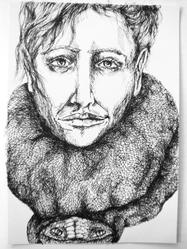 2014-Zeichnung-Kosmos-20-Schlange-hals-blick-Luisa-Pohlmann-Kunst-Berlin
