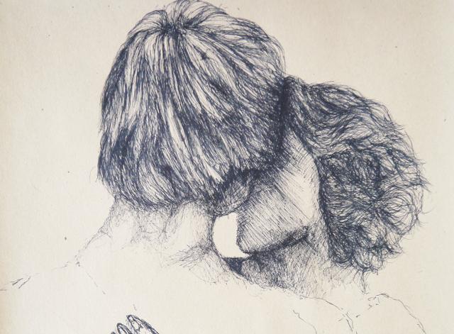 2014-Zeichnung-Kosmos-21-liebespaar-vertraut-sein-Luisa-Pohlmann-Kunst-Berlin