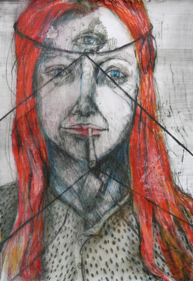 2014-Zeichnung-Kosmos-22-rauchen-drittes-auge-rote-haare-Luisa-Pohlmann-Kunst-Berlin