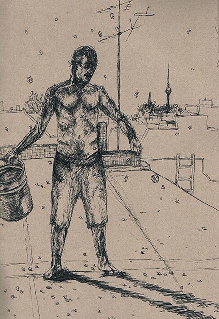 2014-Zeichnung-Kosmos-26-mann-eis-alexanderturm-Luisa-Pohlmann-Kunst-Berlin