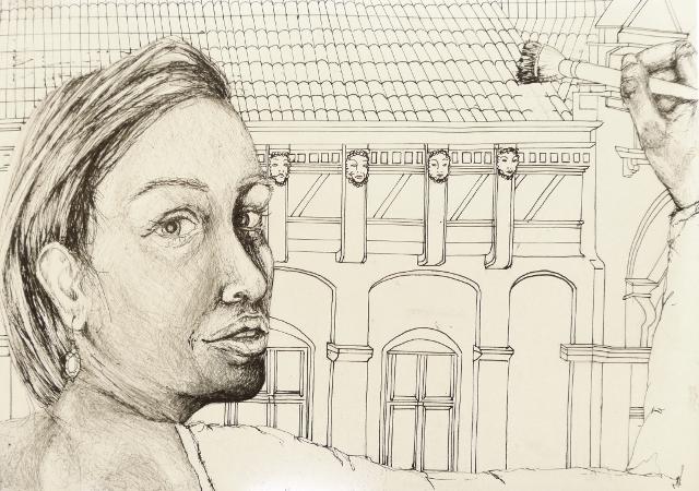 2014-Zeichnung-Kosmos-30-portrait-fassade-pinsel-schulter-Luisa-Pohlmann-Kunst-Berlin