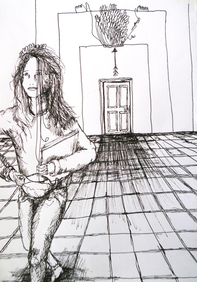 2014-Zeichnung-Kosmos-32-bedienung-saal-tür-Luisa-Pohlmann-Kunst-Berlin