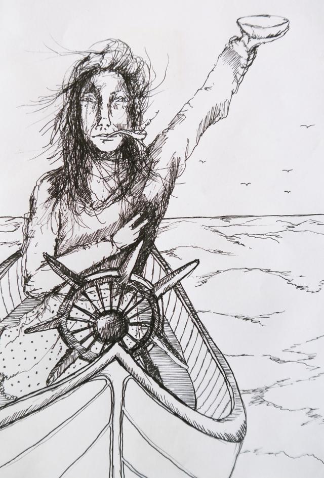 2014-Zeichnung-Kosmos-33-schiff-pfeife-frau-schale-peace-Luisa-Pohlmann-Kunst-Berlin