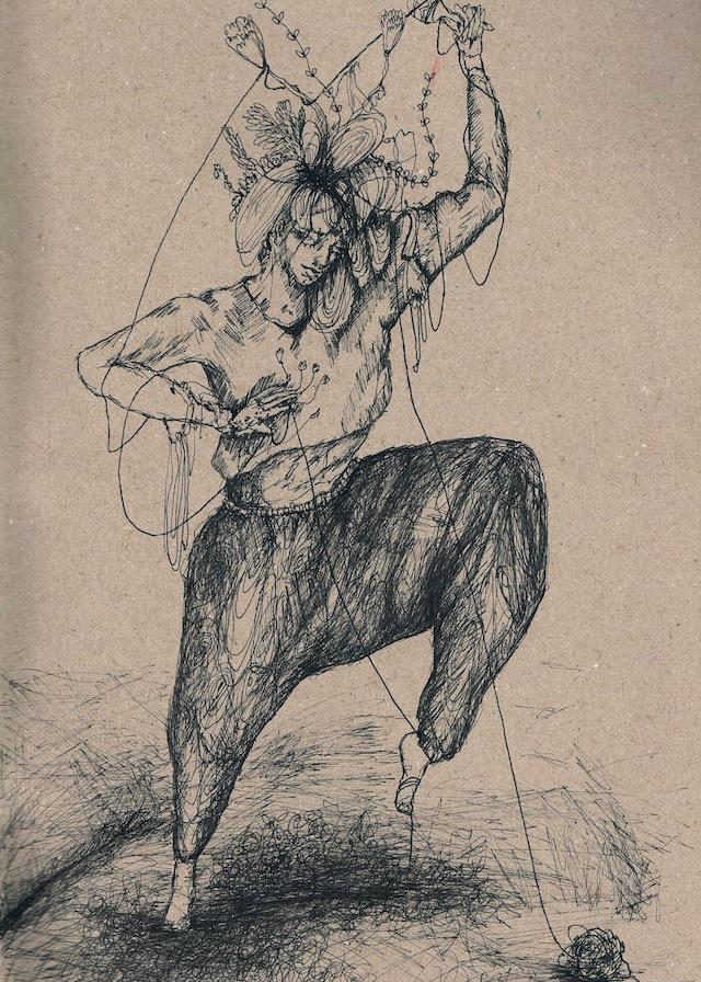 2014-Zeichnung-Kosmos-37-seil-tanz-frau-Luisa-Pohlmann-Kunst-Berlin