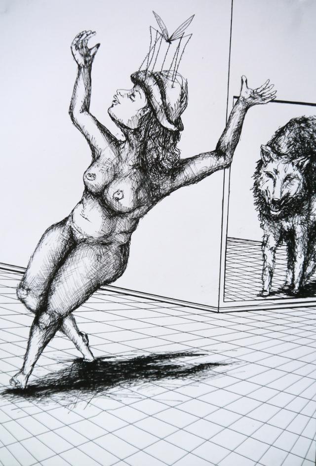 2014-Zeichnung-Kosmos-38-wolf-spinne-tanz-Luisa-Pohlmann-Kunst-Berlin